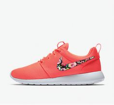 Womens Custom Nike Roshe Floral Design, custom design, lava red with floral design, Red, floral roshe, LIMITED COLOR!