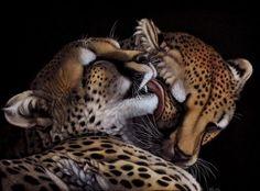 Cheetah snuggle - Animal Portrait Paintings by Heather Lara  <3 <3