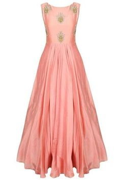 FatimaBi Plus size Peach Gown Raw Silk Hand embroidered Floor length Dresses