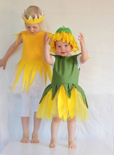 Kinderkostüm, Sonnenblume, Fasching oder Halloween / cute costume for children, sunflower, carneval, halloween by Ida Elfe via DaWanda.com