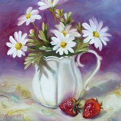 """Daisies and Strawberries"" - Original Fine Art for Sale - © Kathleen Williford"
