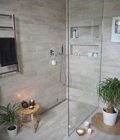 Most Popular Small Bathroom Remodel Ideas on a Budget in 2018 This beautiful look was created with cool colors, and a change of layout. Ensuite Bathrooms, Wood Bathroom, Basement Bathroom, Bathroom Renovations, Master Bathroom, Beige Bathroom, Bathroom Tile Colors, Tranquil Bathroom, Bathroom Niche