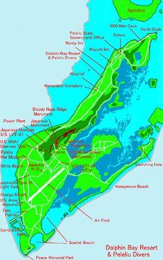 Dolphin Bay Resort- Peleliu Island MAP - located just south of Koror Island
