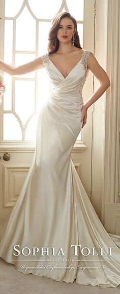 sophia tolli Venus satin slim a line wedding dresses spring 2016 Y11631