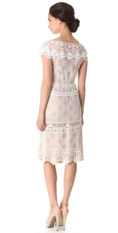 Alberta Ferretti Collection Cap Sleeve Lace Dress | SHOPBOP