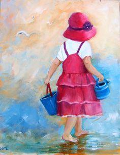 Enfant à la plage - Peinture acrylique originale sur toile représentant une petite fille au bord de mer : Peintures par bleu-indigo