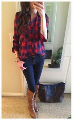 Casual Friday outfit - Flannel top ($16 via Groopdealz.com!) and riding boots, dressed up with a Cartier and Alex + Ani bracelet stack and a Louis Vuitton Neverfull.
