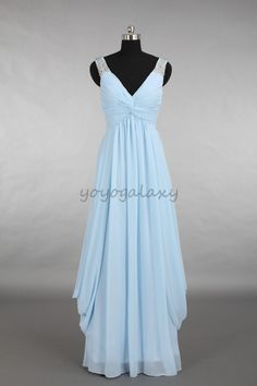 Sky Blue Ruched Draped Beaded Chiffon Long Prom Dress on Luulla