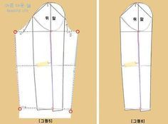 원피스 소매는 한장 소매로 두장 소매의 효과를 내는 방법으로 설명합니다. 소매패턴을 보정하기 위하여 위의 그림과같이 패턴을 그려서 준비합니다. 원피스 소매 패턴 그리는방법 바로가기☜ [1]: 팔꿈치선인 E.L(엘보라인)선인 그림1번에서 점선으로 표
