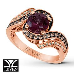 Let's give a round of likes to our ladies born in January. Here's your birthstone, Raspberry Rhodolite garnet, cradled within a swirling Strawberry Gold band studded with Chocolate Diamonds and Vanilla Diamonds. Share if you think this ring looks delicious!