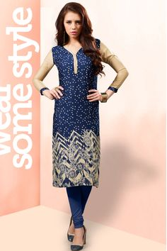 Brown and blue simple printed reyon casual wear kurti 380