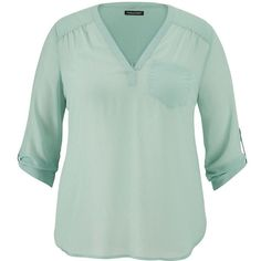 maurices Plus Size - The Perfect Blouse With Textured Dot Stitching ($26) ❤ liked on Polyvore featuring tops, blouses, frozen lake, plus size, plus size chiffon blouse, women plus size tops, plus size polka dot blouse, green top and plus size womens blouses