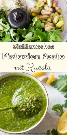 This simple pistachio pesto recipe with arugula and parsley is so easy to make using your blender or food processor. It's made without basil and no pine nuts. So good with salmon, chicken or drizzled over pizza. Can easily be made vegan, paleo and Quick Recipes, Quick Easy Meals, Healthy Recipes, Vegetarian Recipes, Chimichurri, Pesto Vegan, Whole30 Pesto, Healthy Pesto, Sauce Carbonara