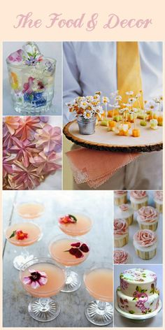 Food and decor idea's for a Garden party shower or wedding