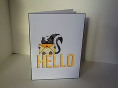 MFT big hello die, Neat and Tangled little stinker stamp set. Handmade card by Julie Kenny