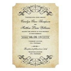 Elegant Wedding Invitations for your wedding. Design your own custom personalized elegant wedding invitations with these easy to use templates Elegant Wedding Invitations, Vintage Wedding Invitations, Wedding Invitation Wording, Custom Invitations, Wedding Vintage, Vintage Weddings, Invitations Online, Gold Wedding, Wedding Stationery