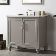Comes in two grays + white and black; drawer inside, quartz top, $769