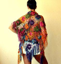 Arco iris del resplandor / flores chal abrigo estola por lilithist