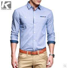เสื้อผ้าผู้ชาย เสื้อเชิ้ต แขนยาวลายเส้นแถบน้ำเงินขาว แต่งสาบน้ำเงินแดง http://www.sunday17.com/product/994/