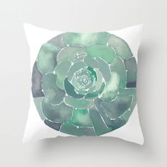 NEW Home Decor Beach Watercolor Art Pillow Cover Succulent Study No.1 on Etsy, $45.00