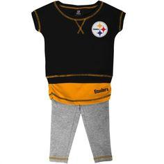 Pittsburgh Steelers Infant Girls Crew T-Shirt & Leggings Set - Black/Gold/Ash