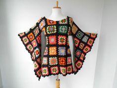 VTG 70s BoHo Hippi Crochet GRANNY SQUARE Angel Slv AFGHAN Mini Festival DRESS #Handmade: