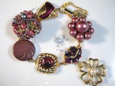 Vintage Earring Bracelet, Bridesmaid Gift, Upcycled, Gold, Wine, Mauve, Purple, Flower, Jennifer Jones, Under 40, Coupon Code - Queen Mauve