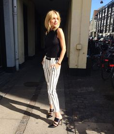 Pernille Teisbaek Is Wearing Striped Trousers From Zara, Black  White, Patterned Trousers, Black Heels