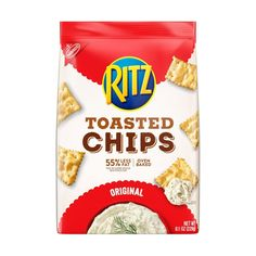 Original Ritz Toasted Corn Chips are a crispy, crunchy twist on the classic cracker you know and love, and are a wholesome snacking choice with less fat than leading regular fried corn chips. Cheddar Chips, Cheese Chips, Toasted Crackers, Ritz Crackers, Chips Packaging, Packaging Snack, Oven Baked Chips, Fried Potato Chips, Fried Corn