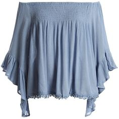 Sans Souci Bell sleeve off shoulder top ($24) ❤ liked on Polyvore featuring tops, blouses, dusty blue, frilly blouse, off the shoulder ruffle blouse, blue top, off-the-shoulder ruffle tops and flutter-sleeve top