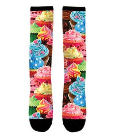 54adb08a9b3 Loving this Black   Pink Sublimated Cupcake Knee-High Socks - Toddler    Kids on