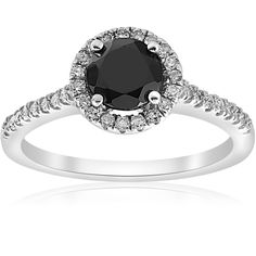 Bliss 14k Gold 1 3/8 ct TDW Diamond & Black Spinel Halo Pave Engagement Ring