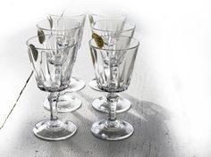 set of 6 vintage french Crystal Wine Glasses by FrenchMelody