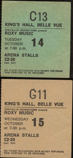 TICKET KING'S HALL (BELLE VUE) - 14.10.1975 – MANCHESTER DISTRICT MUSIC ARCHIVE