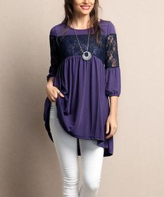 Look what I found on #zulily! Purple Lace-Bodice Tunic - Plus by Reborn Collection #zulilyfinds