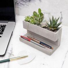 Concrete desktop planter large - cadeaus 20- 50 euro - Cadeaus