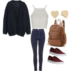 Cute casual outfit for school by madisenharris on Polyvore featuring moda, H&M, Topshop, Vans, Mudd and Kate Spade
