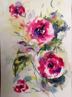 Aquarelle Originale Dam Domido fleurs Flower  Artprice Akoun watercolor