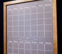 """Made in the USA and guaranteed to stand the test of time, because we only use the highest-quality materials - Tailor Made Whiteboard's Black """"Chalkboard"""" Two Month Calendar Dry Erase Board."""