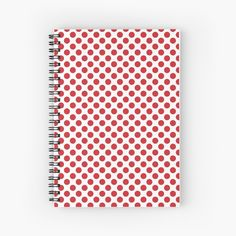 'Polka dots - red' Spiral Notebook by wackapacka Red Dots, Polka Dots, My Notebook, Back To School, Art Prints, Printed, Awesome, Pattern, Products