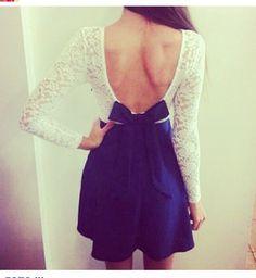 Cute #dress #bow #openintheback