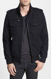 Black Rivet Wool Blend Bomber Jacket