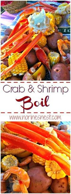Day Seafood Boil An easy and simple crab and shrimp boil. It's so delicious and the perfect way to end the summer!An easy and simple crab and shrimp boil. It's so delicious and the perfect way to end the summer! Shrimp And Crab Boil, Seafood Boil Party, Seafood Boil Recipes, Crab Stuffed Shrimp, Seafood Appetizers, Crab Recipes, Seafood Dinner, Cajun Boil, Fish Boil