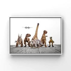 Title: Dinos on the Run in various background colors Please select either photo or canvas as well as the size youd like where it says select diameter from the drop down as you place it in your cart. Pricing is also available there. PHOTOS are printed with love at a professional photo lab using