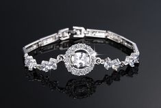 Stunning Platinum Filled Inlaid AAA+ Cubic Zirconia Bracelet Jewellery Specification Bracelet Length: 17 cm Width: cm Cubic Zirconia Size: The central Circle - cm cm Central Cubic Zirconia - cm cm It comes with delicate gift bags for FREE! Jewelry Bracelets, Bangles, Korean Fashion, Plating, Things To Come, Lady, Womens Fashion, Gifts, Diamond