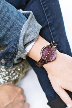 The wine color plated Jacqueline watch fit for a tomgirl. via @abeautifulmess