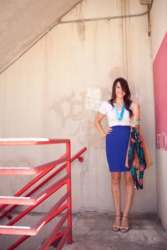 I've been debating bright bottoms, but this pencil skirt looks so cute!  Love the way this is styled.