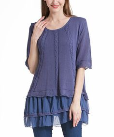 Loving this Blue Layered Linen-Blend Tunic on #zulily! #zulilyfinds
