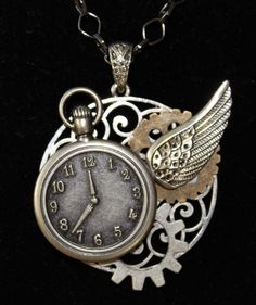 Steampunk necklace with faux pocket watch & wing- buy now $20.00