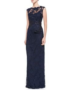 Teri Jon Sleeveless Lace Illusion-Neck Gown - Neiman Marcus long navy possible bridesmaids dress $720